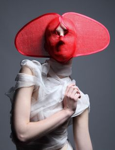 Currently Obsessed With: Face Hats ~ Trend de la Creme - Trends in fashion, style, beauty, design, and popular culture. Mode Pop, Masks Art, Clay Masks, Fashion Mask, Contemporary Fashion, Headgear, Mask Design, Headdress, Costume Design
