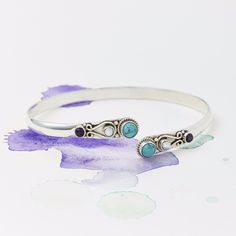 An unusual boho style bangle made of solid silver with pretty and ornate hand work detail giving it an elegant look. Turquoise Jewelry, Boho Jewelry, Jewelry Gifts, Turquoise Bracelet, Jewellery, Jewelry Design, Silver Bangles, Silver Jewelry, Silver Rings