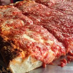 Instead of waiting in an hour-long line for grumpy service at Di Fara, enjoy Brooklyn's actual best pizza (maybe) with a square slice here.   Square Slice at L&B Spumoni Gardens | 39 Delicious New York City Foods That Deserve More Hype