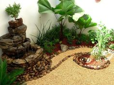 Fuente, bonsai, piedras y lamparita (de Zen Ambient)