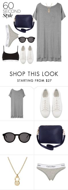 """""""T-shirt dress"""" by fashion-film-fun ❤ liked on Polyvore featuring T By Alexander Wang, Thierry Lasry, Humble Chic, Calvin Klein Underwear, tshirtdresses and 60secondstyle"""
