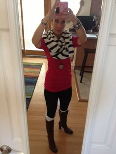 Love this one, red tunic from Victorias Secret, basic black leggings, riding boots with lace leg warmers from etsy.com, and a cozy infinity scarf from Jcrew...Messy bun and a sparkley bracelet