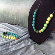 "24"" Graduating Multi Green Tones Wool Felt Ball Necklace, on Forest Green Hemp String"
