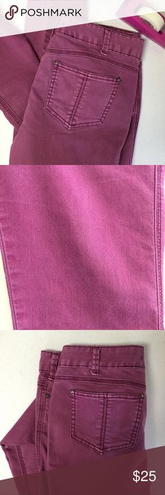Free People Skinny Mulberry Free People Skinny Pant.  Size 31 (runs small). Beautiful color!  Measurements are: Waist 31, Inseam 31, Front Rise 9.5, Back rise 13.  Bottom of pant actress hem 5.5.  No stains, tears or signs of wear.   No size tags. Free People Pants Skinny