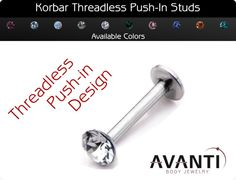 Korbar Push In Round Gem - Cartilage / Tragus / Lip - - Threadless Ends - Piercings Cute Piercings, Body Piercings, Conch Piercings, Tiny Earrings, Cartilage Earrings, Tragus Jewelry, Labret, Body Glitter, Body Jewelry