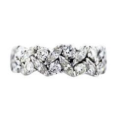 Platinum Marquise and Round Diamond Eternity Band Ring