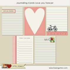 "INSTANT DOWNLOAD - Printable Journaling Cards ""Love you forever"" - Project Life - Scrapbooking"