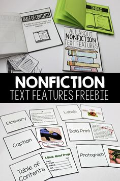 Incorporate your Nonfiction Text Features unit into your students literacy stations with my resource that includes posters, games, books and more! These activities are engaging and fun, which are words that aren't always associated with teaching Nonfiction Text Features! I'm even sharing a FREE download of one the many fun games! #annabrantleysteachingresources #nonfictiontextfeatures #literacycenters #firstgrade