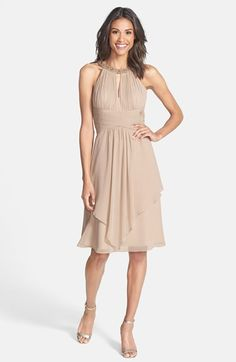 Love this style in Purple (Orchid)!! - Eliza J Embellished Neck Layered Chiffon Fit & Flare Dress available at #Nordstrom