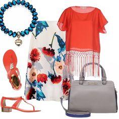 Un outfit pensato per un pomeriggio d'estate....dove volete voi! Gonna a campana in una splendida fantasia floreale su fondo bianco, abbinata ad un top corallo movimentato da frange. Sandalo infradito corallo con tacco basso, bauletto grigio con tracolla blu, bracciale con pietre dure.