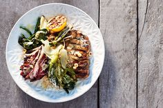 Swapping in pork chops for the typical bacon bits transforms this classic salad into a robust main course. Canadian Living Recipes, Bbq Pork, Barbecue, Classic Salad, Meat Salad, Pork Loin Chops, How To Roast Hazelnuts, Grilled Pork, Caesar Salad