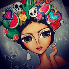 Mandala Art Lesson, Painted Rocks, Hand Painted, Frida Art, Lovely Girl Image, Fabric Painting, Painting Art, Paintings, Learn To Paint