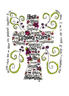 Sisters in Christ print of hand drawn cross wordart with Matthew 18:20, Christian art, Catholic art, 5x7, 8x10, personalized gift via Etsy