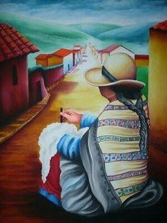 Mexican Paintings, Peruvian Art, Mexico Art, Southwest Art, Indigenous Art, Mexican Folk Art, Fabric Painting, Portrait Art, Indian Art