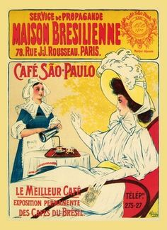 Sao Paulo Brazilian Brazil Coffee Cafe Food French Vintage Poster Repro Free s H | eBay