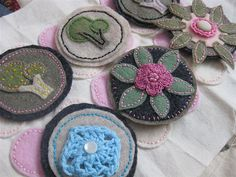 More Embroidered Felt Brooches