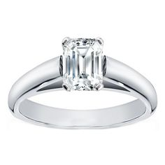 Emerald Cut Diamond Cathedral Solitaire Engagement Ring in 14K White Gold... so simple, so elegant, so perfect