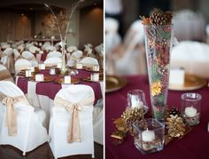 burgundy & gold wedding colors - Great fall centerpieces
