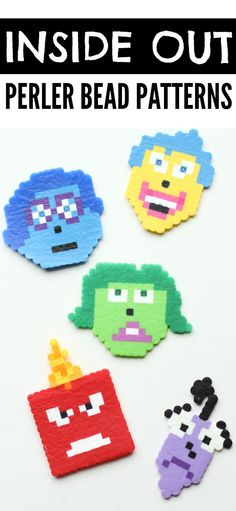 Inside Out Perler Bead Patterns: Print the pattern and slip it underneath the pegboard to make Joy, Sadness, Fear, Disgust, and Anger from the movie Inside Out!
