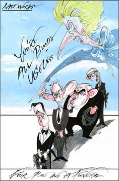 Four PM's and a Funeral - Gerald Scarfe's cartoon on Thatcher's death