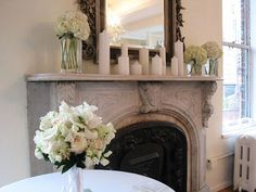 Pretty and simple mantle decor