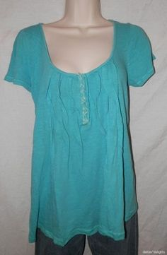 Womens Meadow Rue Top Teal Blue M Medium Centerstich Tee Turquoise Anthropologie | eBay