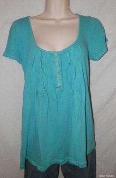 Womens Meadow Rue Top Teal Blue M Medium Centerstich Tee Turquoise Anthropologie   eBay