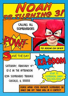 Comic Superhero Birthday Invitation by InvitingPrintables on Etsy, $15.00
