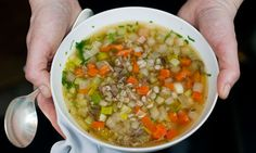 Scotch broth with pearl barley and carrots is warming, filling and easy to make. Photograph: Sarah Lee for the Guardian