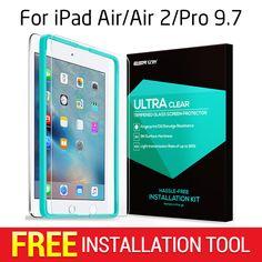 Displayschutzfolie für ipad air/air 2/pro 9,7, esr dreibettzimmer strength gehärtetem glas film mit freies applikator für ipad 9.7 zoll
