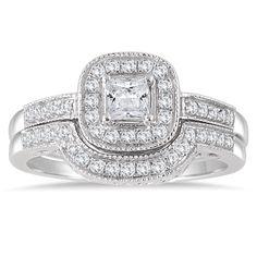Marquee Jewels 10k Gold 5/8ct TDW Diamond Halo Bridal Set