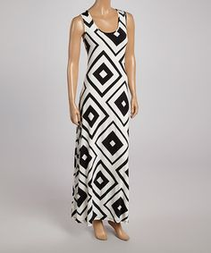Another great find on #zulily! Black & White Diamond Maxi Dress by Adrienne #zulilyfinds