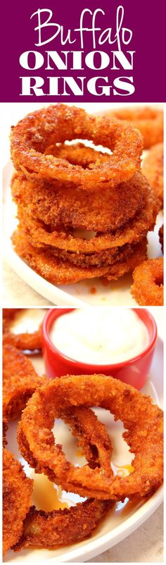 Buffalo Onion Rings Buffalo Onion Rings recipe – perfectly crunchy onion rings tossed in Buffalo sauce. Your new favorite way to enjoy this appetizer or pile them on your next burger! Pizza Appetizers, Finger Food Appetizers, Appetizer Recipes, Dessert Recipes, Desserts, Salad Recipes, Onion Rings Recipe, Buffalo Recipe, Pizza Bites