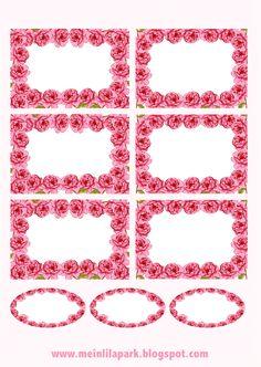 free printable rose framed tags – ausdruckbare Etiketten mit Rosen - freebie   MeinLilaPark – digital freebies
