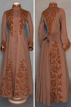 Appliquéd wool bustle coat ca. 1888. Cocoa brown with chestnut wool leaf and…