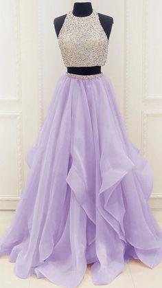 Lilac Prom Dresses, Elegant Homecoming Dresses, Two Piece Homecoming Dress, Dresses Elegant, Prom Dresses Two Piece, Prom Dresses For Teens, Prom Dresses 2018, Quinceanera Dresses, Ball Dresses