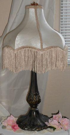 Large Lamp With Fringe Shade Tuscan by cottageshabbyshack on Etsy, $85.00