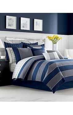 Nautica Harpswell Comforter - Bed Bath & Beyond I love this.but can my whole house be silver and navy? Comforter Sets, King Comforter, Bedroom Inspirations, Bed, Bed Bath And Beyond, Duvet Cover Sets, Bed Styling, Harpswell, Bedding Sets