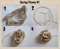 First a confession: I& never made burlap flowers before this and I& never read a tutorial on how to make them. I& seen a lot of cute. Burlap Projects, Burlap Crafts, Fabric Crafts, Sewing Crafts, Craft Projects, Diy Crafts, Craft Ideas, Burlap Lace, Burlap Flowers