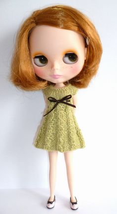 knitted dress for blythe by LouiseCaroline on etsy