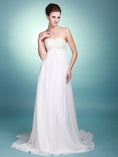 Column Strapless Sweetheart Neckline Beaded Bodice Chiffon Chapel Train Informal Beach Summer Flowy Wedding Dresses Spring 2012 under 500
