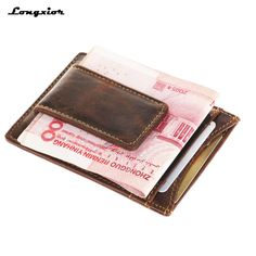 f7f4c0d691dc RFID blocking Genuine Leather front pocket wallet with magnet clip and card  ID Case men wallet id&card holder