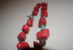 Coral and Turquoise Necklace by boomerangvintageshop on Etsy