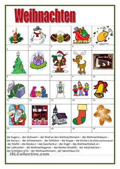 Vocabulary about Christmas - ESL worksheets German Grammar, German Words, German Language Learning, Teaching English, Free Printable Christmas Worksheets, Christmas Cards Drawing, Reading Comprehension Passages, English Fun, Learn German
