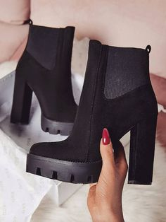 1ce7265ebbbd Stylish Velvet Chunky High Heel Boots Black Heel Boots
