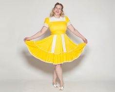 Vintage 1960s Yellow Dress Large Plus Size Fashions by AlexSandras, $82.00