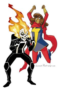 Ms Marvel and Ghost Rider    http://felipesmithart.tumblr.com/post/127123671266/yeeeesss-i-saw-these-in-their-line-art-stage