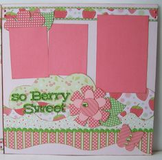 So Berry Sweet Premade 2 Page 12x12 Scrapbook Layout via Etsy