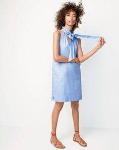 Crew women's tie-neck dress in cotton oxford and leather lace-up sandals. Casual Summer Outfits, Cool Outfits, Fashion Outfits, Womens Fashion, Fashion Tips, Preppy Fashion, Blue Fashion, Latest Fashion, Professional Outfits