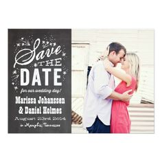 Chalkboard Type Save The Date Announcement Invitation Card